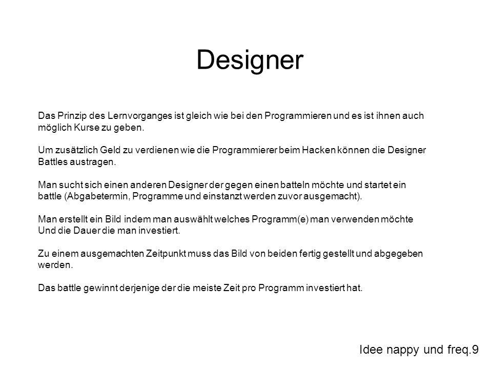 Idee nappy und freq.9 Designer Das Prinzip des Lernvorganges ist gleich wie bei den Programmieren und es ist ihnen auch möglich Kurse zu geben. Um zus