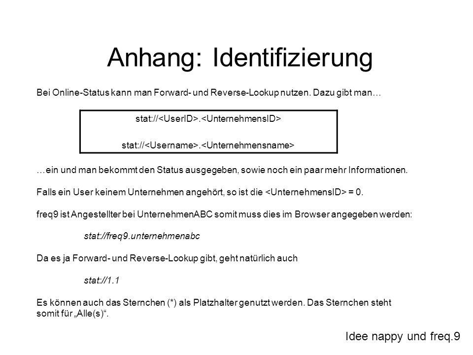 Idee nappy und freq.9 Anhang: Identifizierung Bei Online-Status kann man Forward- und Reverse-Lookup nutzen. Dazu gibt man… …ein und man bekommt den S