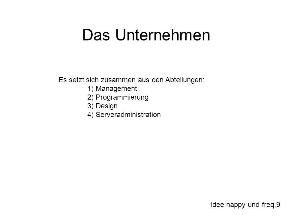 Idee nappy und freq.9 Es setzt sich zusammen aus den Abteilungen: 1) Management 2) Programmierung 3) Design 4) Serveradministration Das Unternehmen