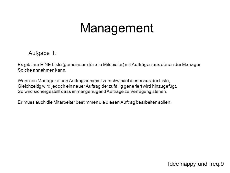 Idee nappy und freq.9 Management Aufgabe 1: Es gibt nur EINE Liste (gemeinsam für alle Mitspieler) mit Aufträgen aus denen der Manager Solche annehmen