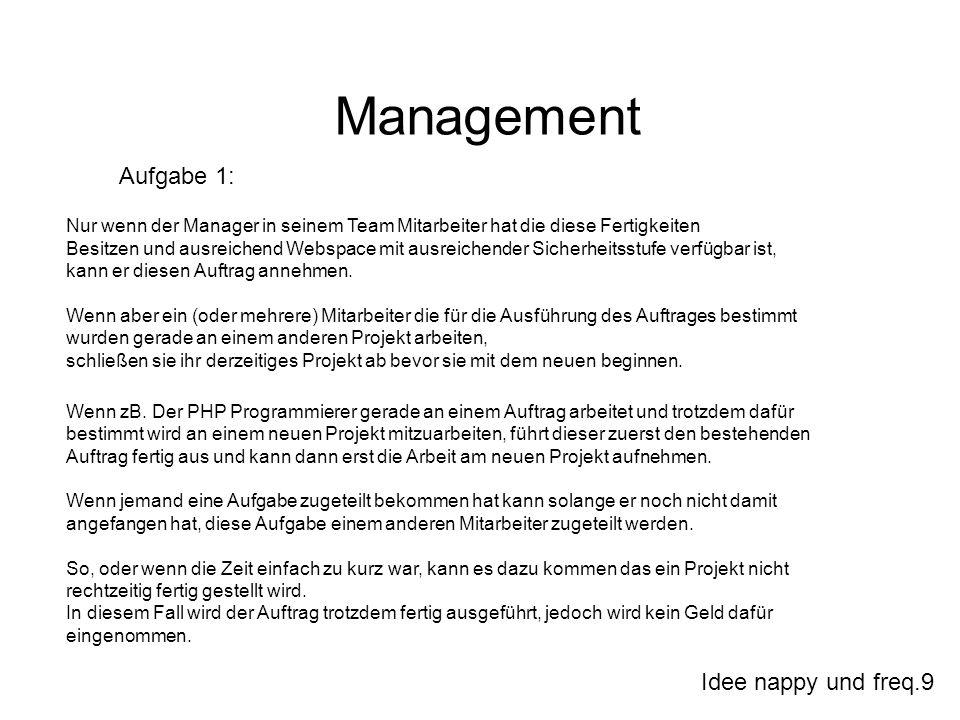 Idee nappy und freq.9 Management Aufgabe 1: Nur wenn der Manager in seinem Team Mitarbeiter hat die diese Fertigkeiten Besitzen und ausreichend Webspa