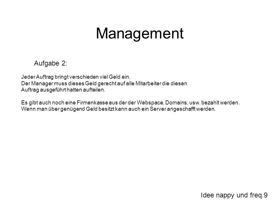 Idee nappy und freq.9 Management Aufgabe 2: Jeder Auftrag bringt verschieden viel Geld ein. Der Manager muss dieses Geld gerecht auf alle Mitarbeiter