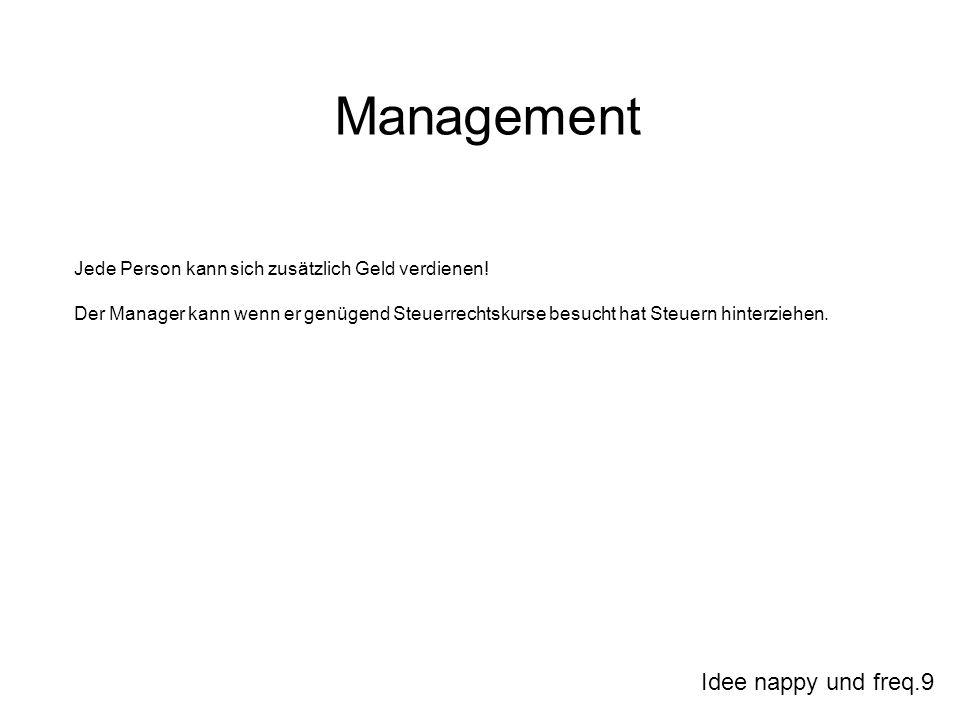 Idee nappy und freq.9 Management Jede Person kann sich zusätzlich Geld verdienen! Der Manager kann wenn er genügend Steuerrechtskurse besucht hat Steu