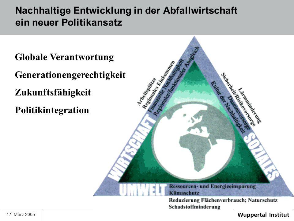 17. März 2005 Nachhaltige Entwicklung in der Abfallwirtschaft ein neuer Politikansatz Globale Verantwortung Generationengerechtigkeit Zukunftsfähigkei