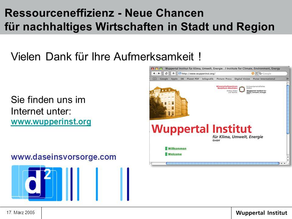 17. März 2005 Vielen Dank für Ihre Aufmerksamkeit ! Sie finden uns im Internet unter: www.wupperinst.org www.wupperinst.org www.daseinsvorsorge.com Re