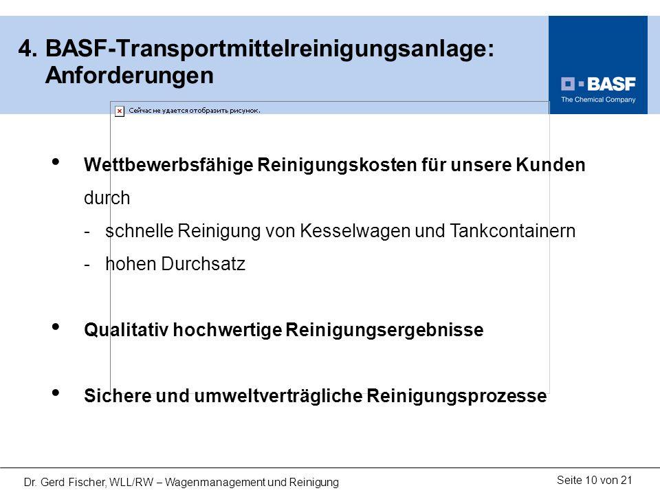 Seite 10 von 21 Dr. Gerd Fischer, WLL/RW – Wagenmanagement und Reinigung 4. BASF-Transportmittelreinigungsanlage: Anforderungen Wettbewerbsfähige Rein