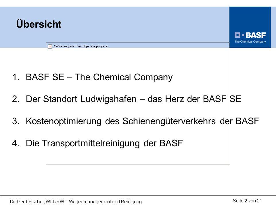 Seite 2 von 21 Dr. Gerd Fischer, WLL/RW – Wagenmanagement und Reinigung Übersicht 1.BASF SE – The Chemical Company 2.Der Standort Ludwigshafen – das H