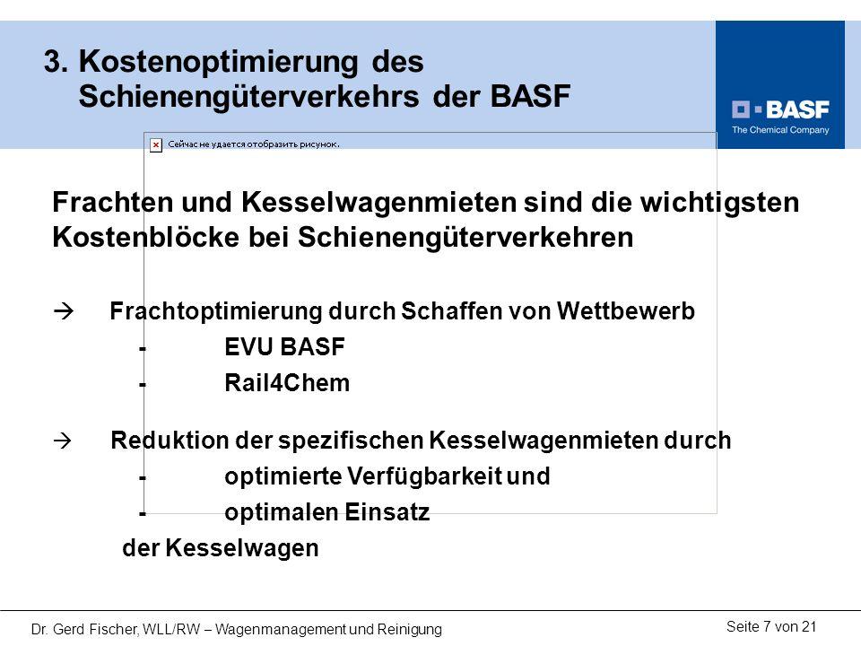 Seite 7 von 21 Dr. Gerd Fischer, WLL/RW – Wagenmanagement und Reinigung 3. Kostenoptimierung des Schienengüterverkehrs der BASF Frachten und Kesselwag