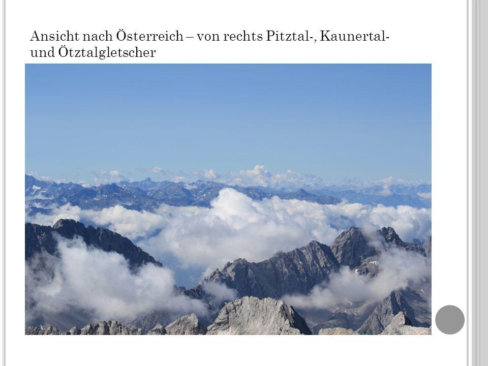Ansicht nach Österreich – von rechts Pitztal-, Kaunertal- und Ötztalgletscher