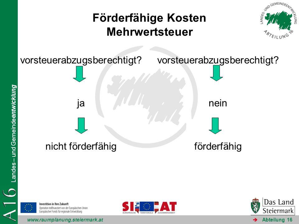 www.raumplanung.steiermark.at Landes – und Gemeindeentwicklung Abteilung 16 Förderfähige Kosten Mehrwertsteuer vorsteuerabzugsberechtigt? ja nicht för