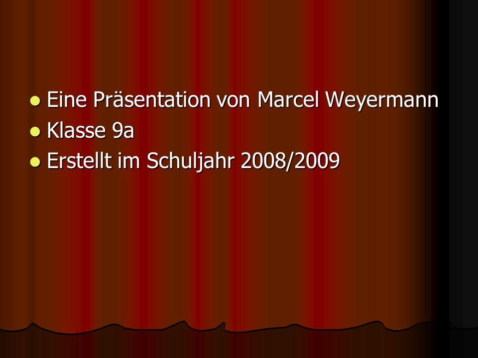 Eine Präsentation von Marcel Weyermann Eine Präsentation von Marcel Weyermann Klasse 9a Klasse 9a Erstellt im Schuljahr 2008/2009 Erstellt im Schuljahr 2008/2009