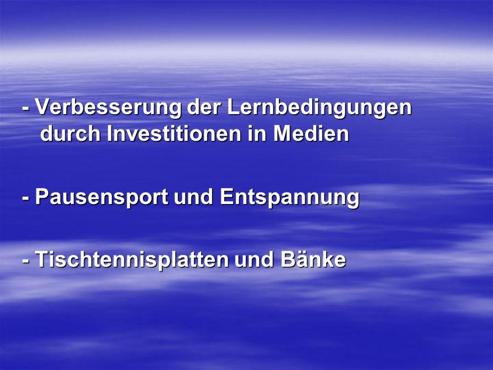 - Verbesserung der Lernbedingungen durch Investitionen in Medien - Pausensport und Entspannung - Tischtennisplatten und Bänke