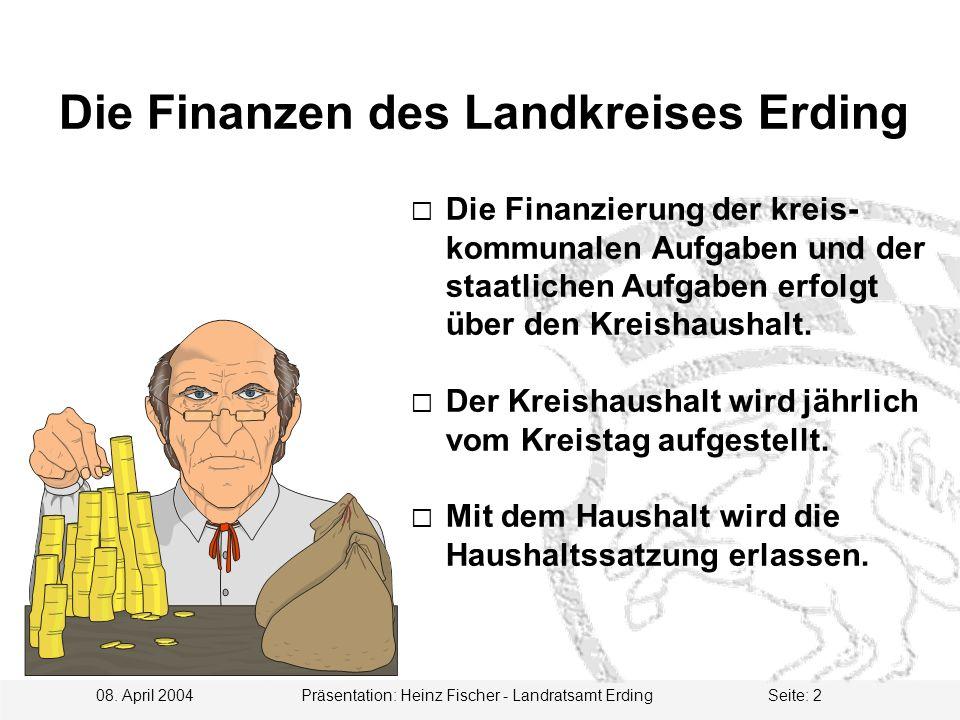 08. April 2004 Präsentation: Heinz Fischer - Landratsamt ErdingSeite: 2  Die Finanzierung der kreis- kommunalen Aufgaben und der staatlichen Aufgaben