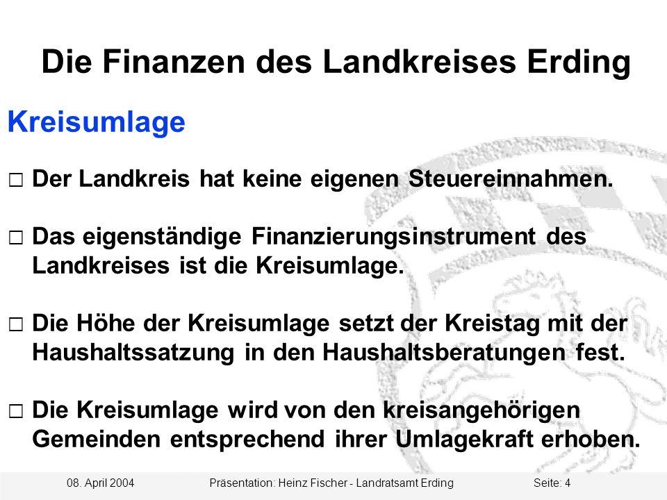 08. April 2004 Präsentation: Heinz Fischer - Landratsamt ErdingSeite: 4 Die Finanzen des Landkreises Erding Kreisumlage  Der Landkreis hat keine eige