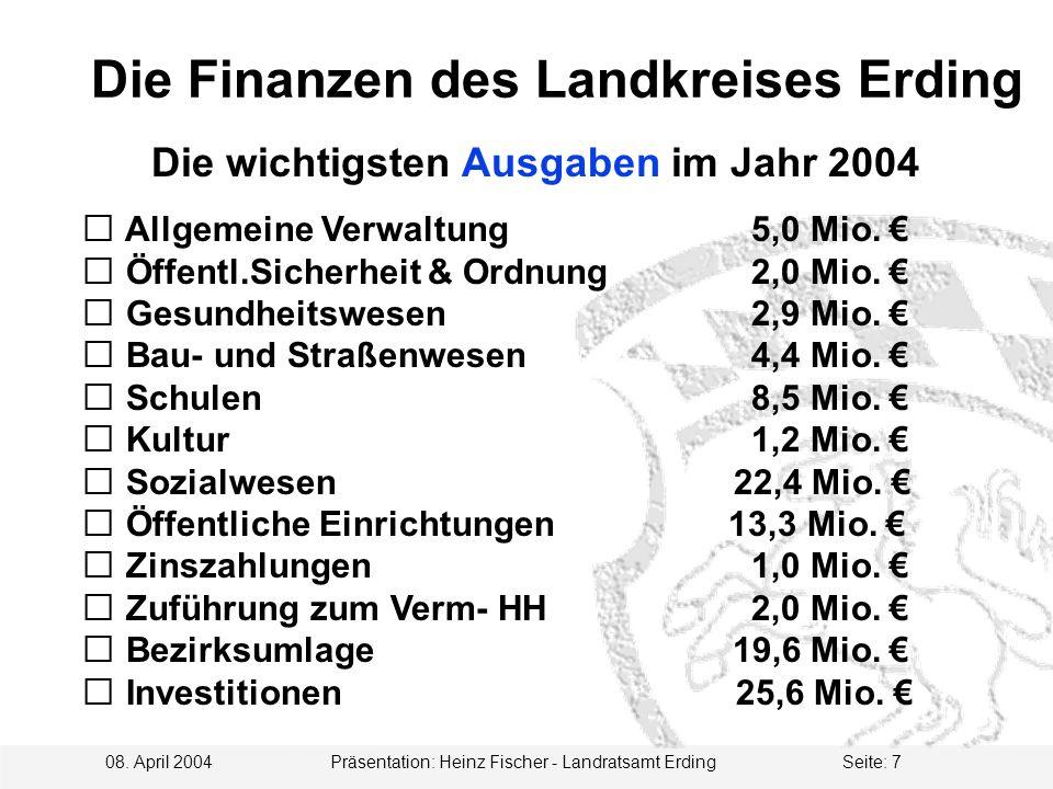 08. April 2004 Präsentation: Heinz Fischer - Landratsamt ErdingSeite: 7  Allgemeine Verwaltung 5,0 Mio.  Öffentl.Sicherheit & Ordnung 2,0 Mio.  Ges