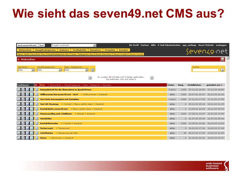 5 Wie sieht das seven49.net CMS aus