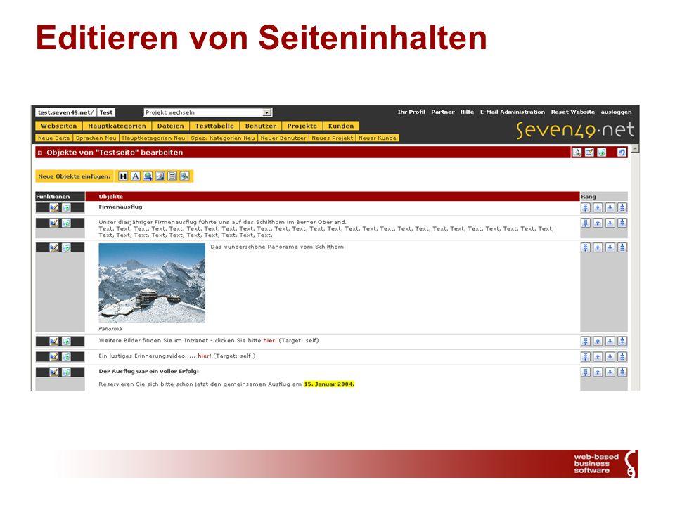 7 seven49.net CMS Factsheet Möglichkeit eines Application Service Providings wodurch hohe Kosten für Setup und Betrieb entfallen Professionelles System auch für kleinere und mittlere Projekte Vollständige Modularität, offene Architektur Keine Installation notwendig (ASP), dadurch keine Installation von Updates erforderlich Neuste Technologie (MS SQL Server 2000, ASP/ASP.NET) Keinerlei Einschränkungen im Design, auch Flashanimationen können im CMS verwaltet werden Strikte Trennung von Design und Inhalt Hohe Skalierbarkeit