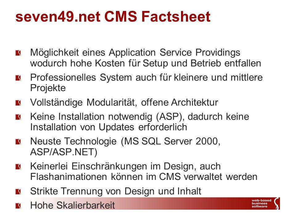 8 seven49.net Document Management System – Dateisystem Das seven49.net Content Management System beinhaltet ein Dokumentenmanagement System für Office-Dateien, Bilder, Videos etc.