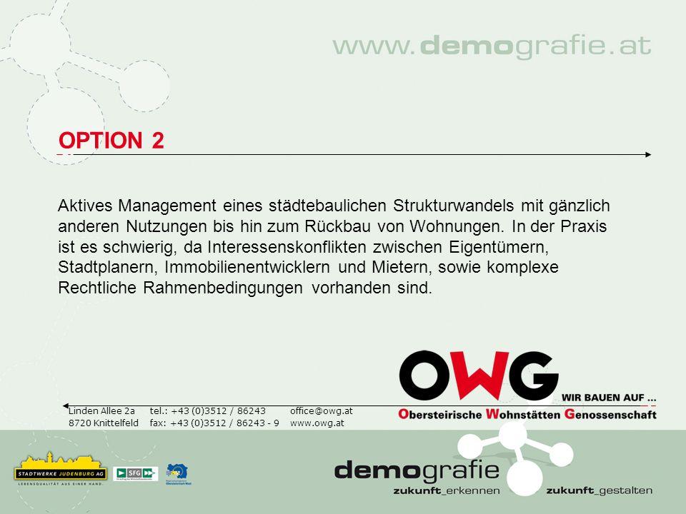 OPTION 2 Aktives Management eines städtebaulichen Strukturwandels mit gänzlich anderen Nutzungen bis hin zum Rückbau von Wohnungen. In der Praxis ist