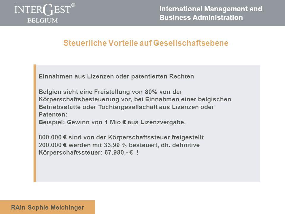 International Management and Business Administration RAin Sophie Melchinger Hohe Verpflegungs-und Übernachtungspauschalen z.B.