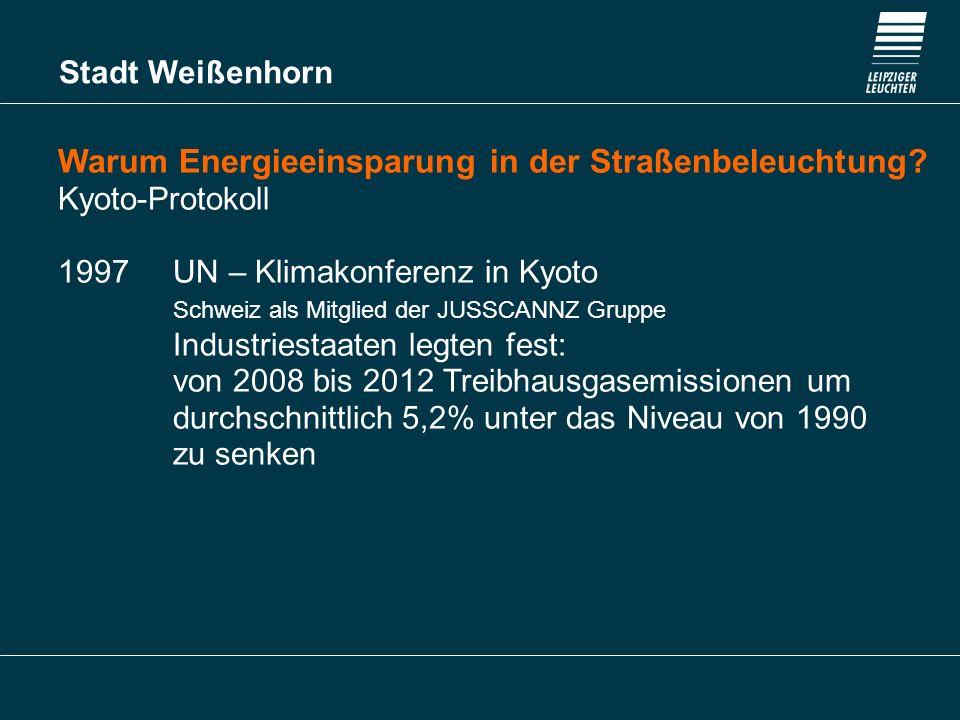 Stadt Weißenhorn Warum Energieeinsparung in der Straßenbeleuchtung? Kyoto-Protokoll 1997 UN – Klimakonferenz in Kyoto Schweiz als Mitglied der JUSSCAN