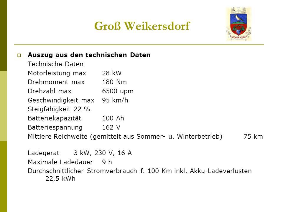 Groß Weikersdorf Auszug aus den technischen Daten Technische Daten Motorleistung max 28 kW Drehmoment max 180 Nm Drehzahl max 6500 upm Geschwindigkeit max 95 km/h Steigfähigkeit 22 % Batteriekapazität 100 Ah Batteriespannung 162 V Mittlere Reichweite (gemittelt aus Sommer- u.