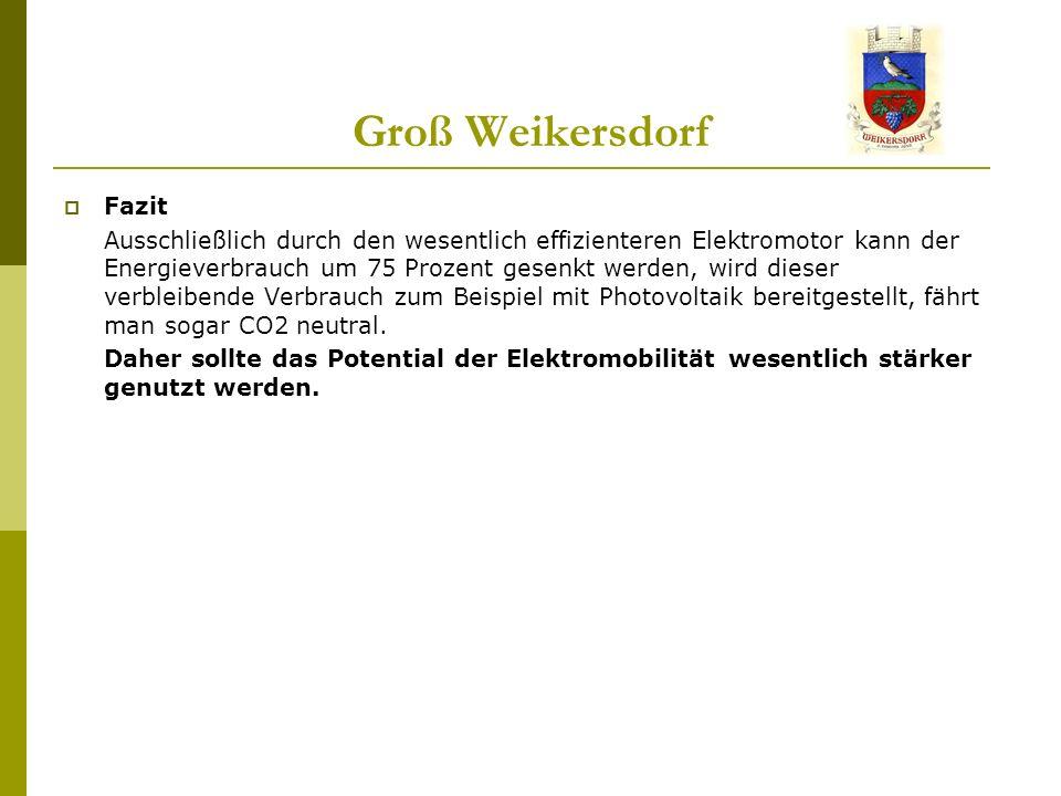 Groß Weikersdorf Fazit Ausschließlich durch den wesentlich effizienteren Elektromotor kann der Energieverbrauch um 75 Prozent gesenkt werden, wird dieser verbleibende Verbrauch zum Beispiel mit Photovoltaik bereitgestellt, fährt man sogar CO2 neutral.