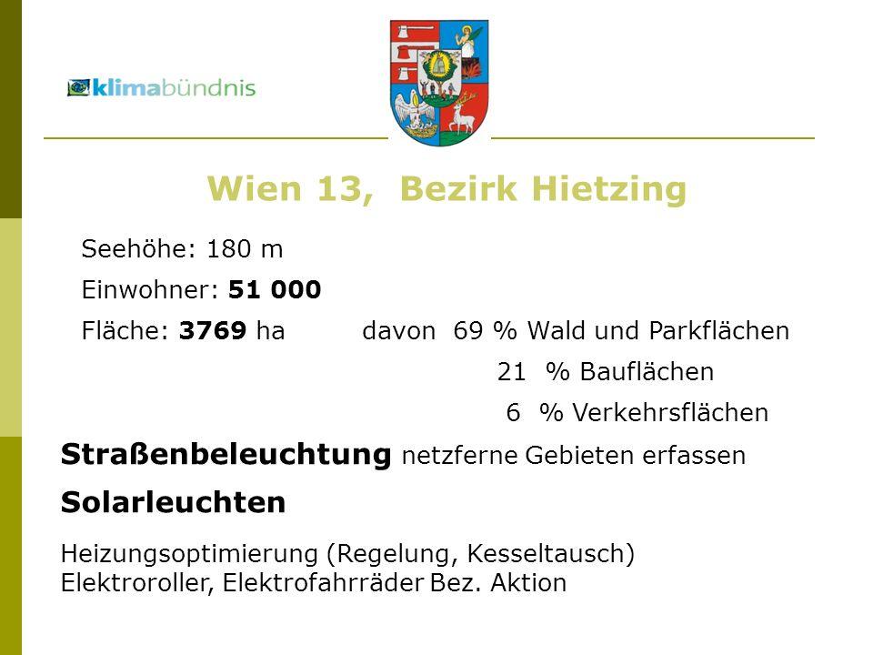 Seehöhe: 180 m Einwohner: 51 000 Fläche: 3769 ha davon 69 % Wald und Parkflächen 21 % Bauflächen 6 % Verkehrsflächen Wien 13, Bezirk Hietzing Straßenbeleuchtung netzferne Gebieten erfassen Solarleuchten Heizungsoptimierung (Regelung, Kesseltausch) Elektroroller, Elektrofahrräder Bez.