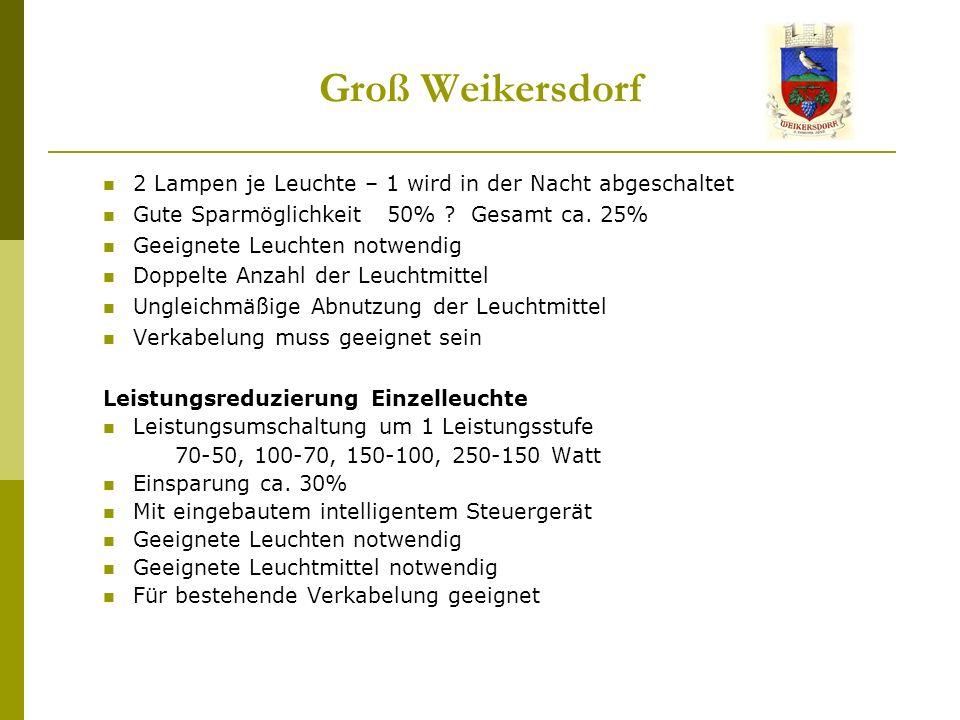 Groß Weikersdorf 2 Lampen je Leuchte – 1 wird in der Nacht abgeschaltet Gute Sparmöglichkeit 50% .