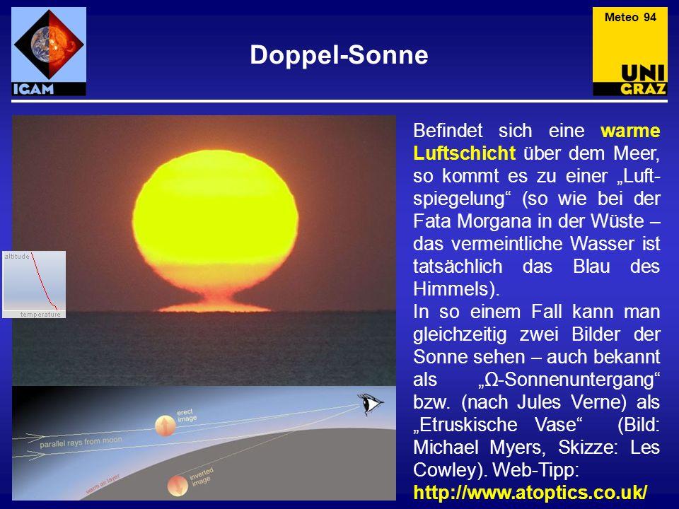 Doppel-Sonne Befindet sich eine warme Luftschicht über dem Meer, so kommt es zu einer Luft- spiegelung (so wie bei der Fata Morgana in der Wüste – das