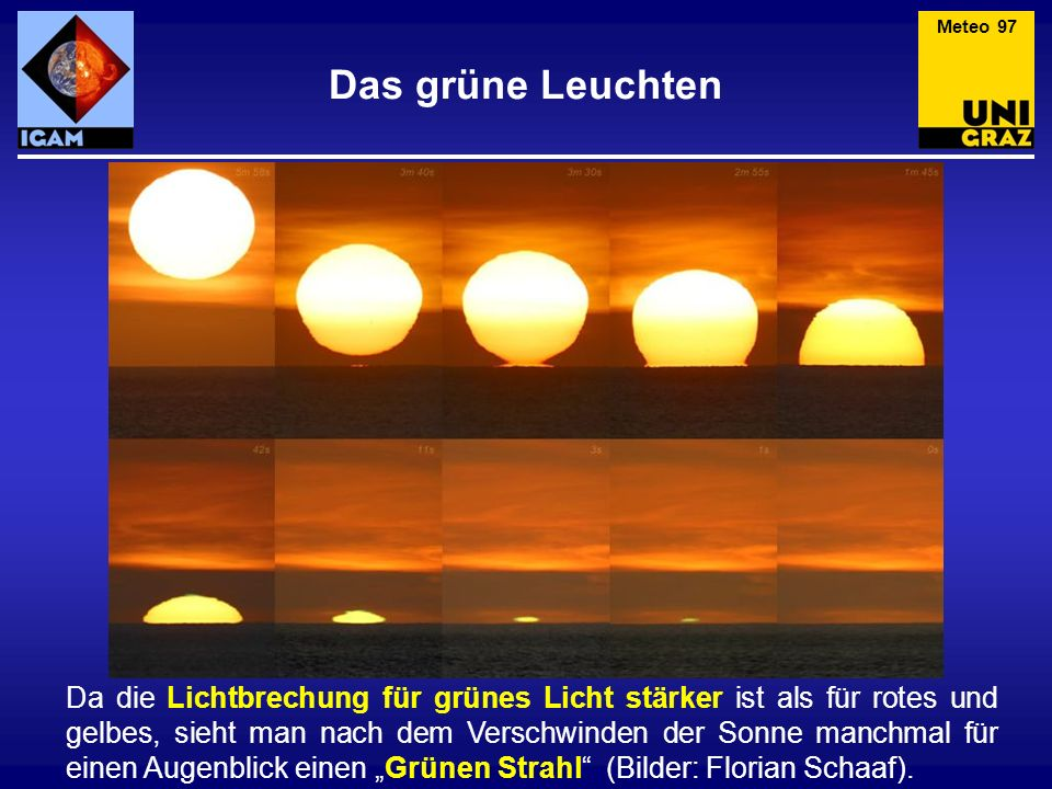 Das grüne Leuchten Da die Lichtbrechung für grünes Licht stärker ist als für rotes und gelbes, sieht man nach dem Verschwinden der Sonne manchmal für