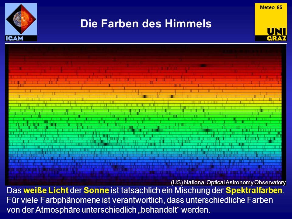 Die Farben des Himmels Das weiße Licht der Sonne ist tatsächlich ein Mischung der Spektralfarben. Für viele Farbphänomene ist verantwortlich, dass unt