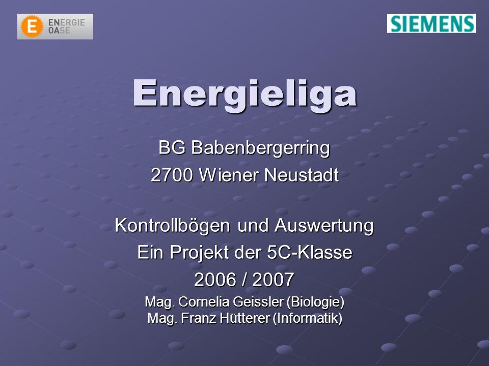 Energieliga BG Babenbergerring 2700 Wiener Neustadt Kontrollbögen und Auswertung Ein Projekt der 5C-Klasse 2006 / 2007 Mag.