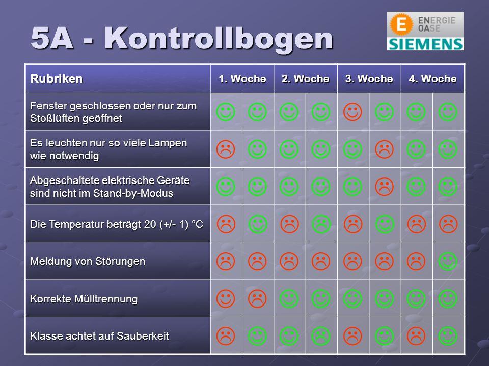 5A - Kontrollbogen Rubriken 1. Woche 2. Woche 3.