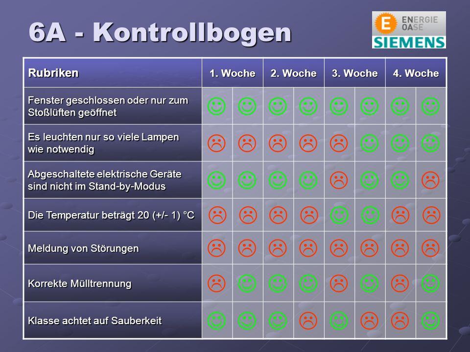 6A - Kontrollbogen Rubriken 1. Woche 2. Woche 3.