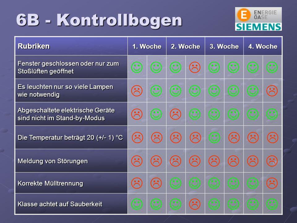 6B - Kontrollbogen Rubriken 1. Woche 2. Woche 3.