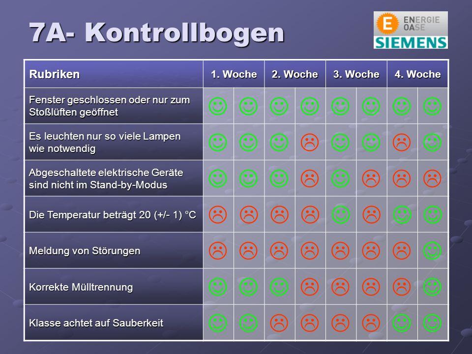 7A- Kontrollbogen Rubriken 1. Woche 2. Woche 3. Woche 4.