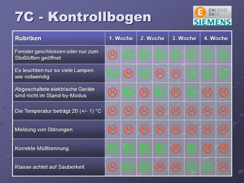 7C - Kontrollbogen Rubriken 1. Woche 2. Woche 3.