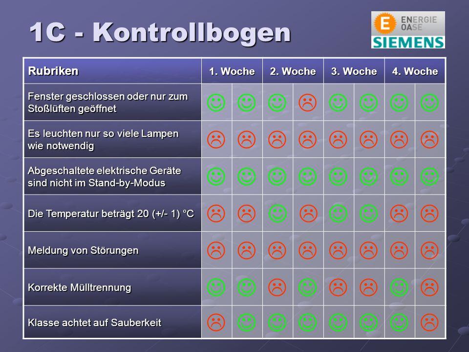 1C - Kontrollbogen Rubriken 1. Woche 2. Woche 3.