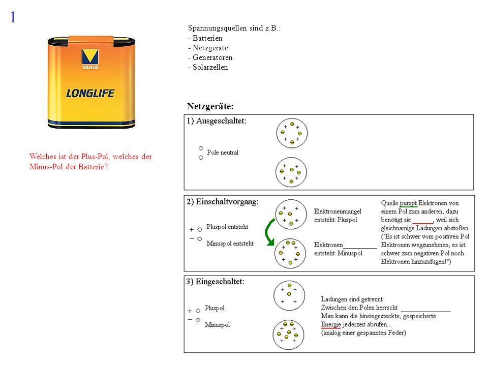 Welches ist der Plus-Pol, welches der Minus-Pol der Batterie? 1 Spannungsquellen sind z.B.: - Batterien - Netzgeräte - Generatoren - Solarzellen Netzg