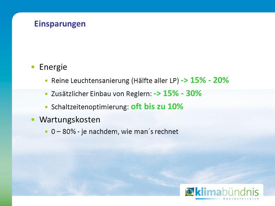 Einsparungen Energie Reine Leuchtensanierung (Hälfte aller LP) -> 15% - 20% Zusätzlicher Einbau von Reglern: -> 15% - 30% Schaltzeitenoptimierung: oft