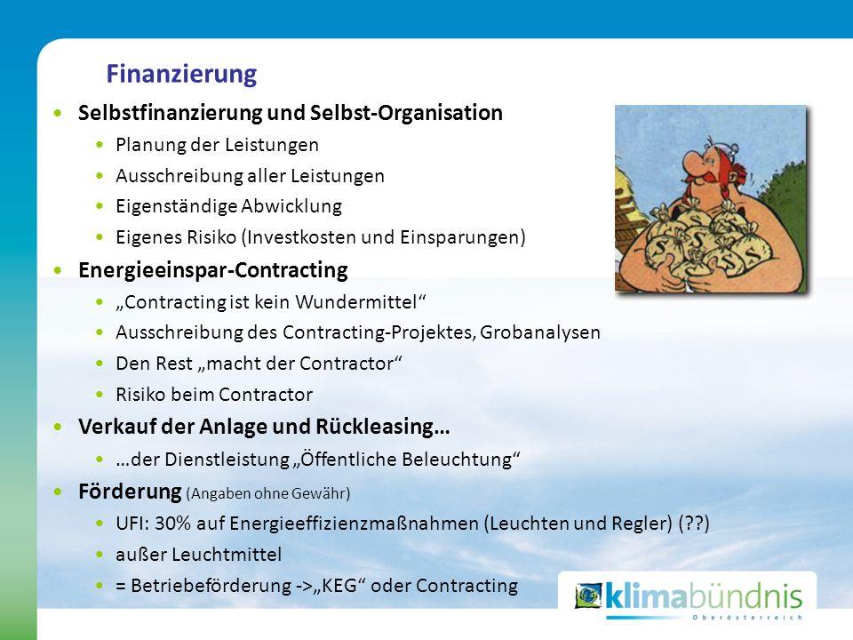 Finanzierung Selbstfinanzierung und Selbst-Organisation Planung der Leistungen Ausschreibung aller Leistungen Eigenständige Abwicklung Eigenes Risiko