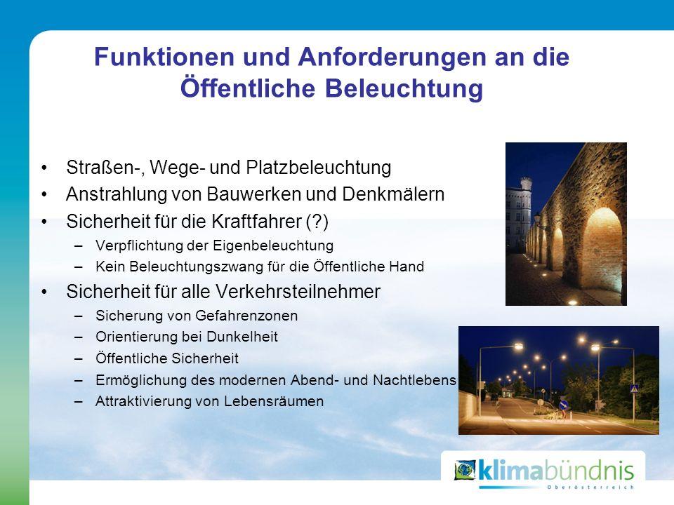 Funktionen und Anforderungen an die Öffentliche Beleuchtung Straßen-, Wege- und Platzbeleuchtung Anstrahlung von Bauwerken und Denkmälern Sicherheit f