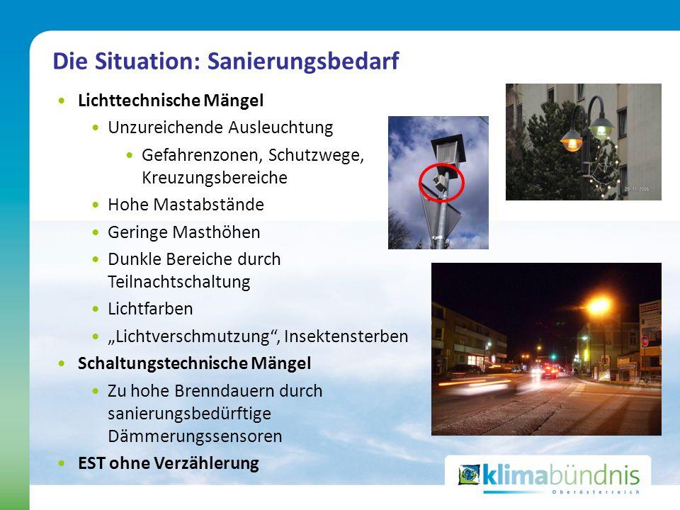 Lichttechnische Mängel Unzureichende Ausleuchtung Gefahrenzonen, Schutzwege, Kreuzungsbereiche Hohe Mastabstände Geringe Masthöhen Dunkle Bereiche dur