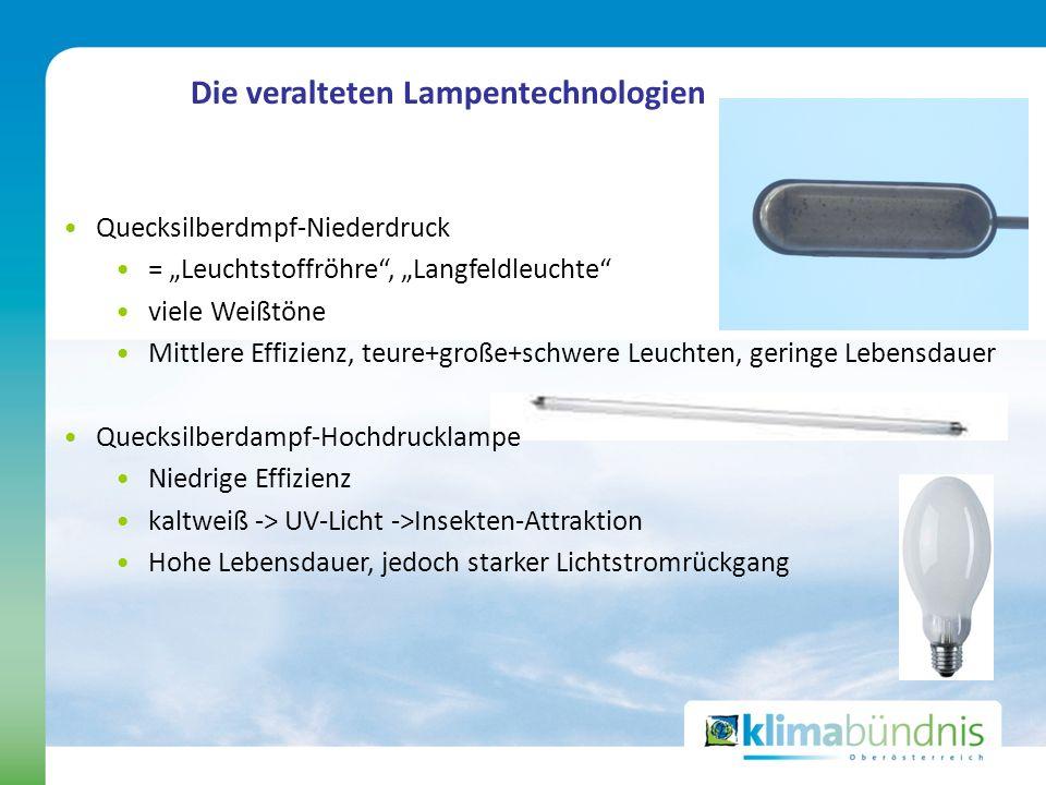 Die veralteten Lampentechnologien Quecksilberdmpf-Niederdruck = Leuchtstoffröhre, Langfeldleuchte viele Weißtöne Mittlere Effizienz, teure+große+schwe