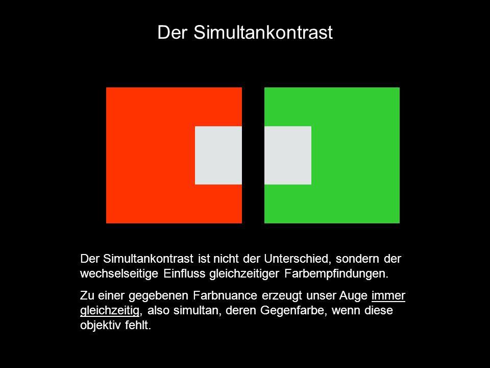 Der Simultankontrast Der Simultankontrast ist nicht der Unterschied, sondern der wechselseitige Einfluss gleichzeitiger Farbempfindungen. Zu einer geg