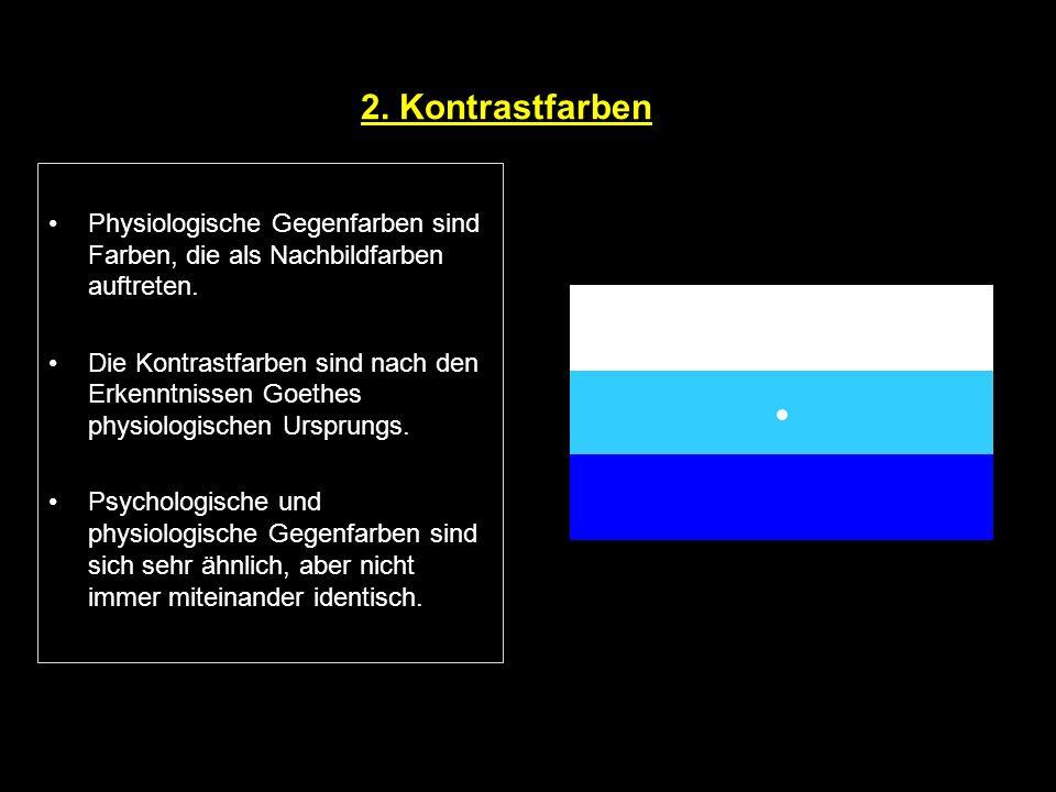 2. Kontrastfarben Physiologische Gegenfarben sind Farben, die als Nachbildfarben auftreten. Die Kontrastfarben sind nach den Erkenntnissen Goethes phy