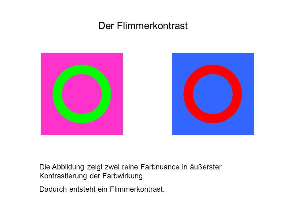 Der Flimmerkontrast Die Abbildung zeigt zwei reine Farbnuance in äußerster Kontrastierung der Farbwirkung. Dadurch entsteht ein Flimmerkontrast.