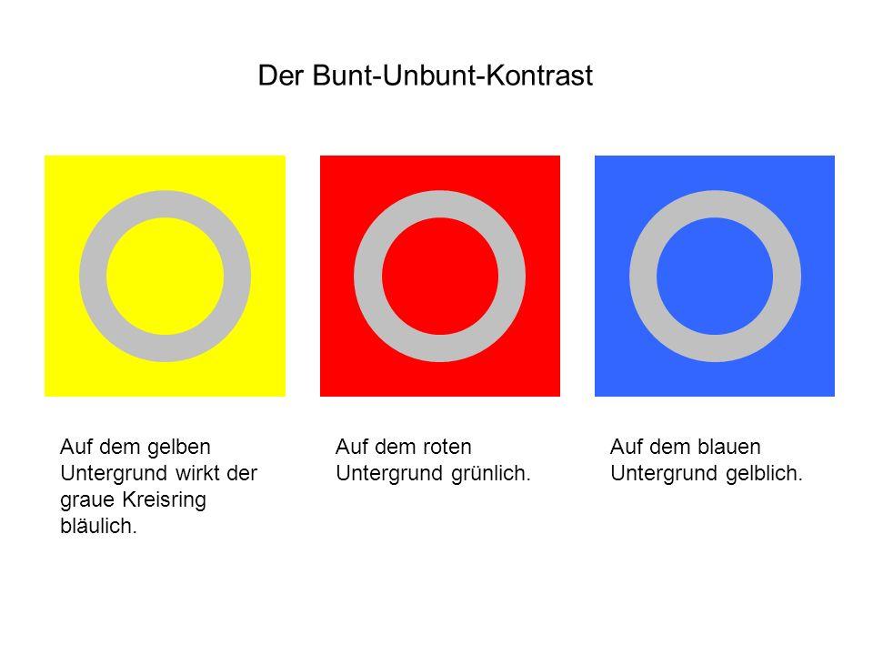 Auf dem gelben Untergrund wirkt der graue Kreisring bläulich. Auf dem roten Untergrund grünlich. Auf dem blauen Untergrund gelblich.