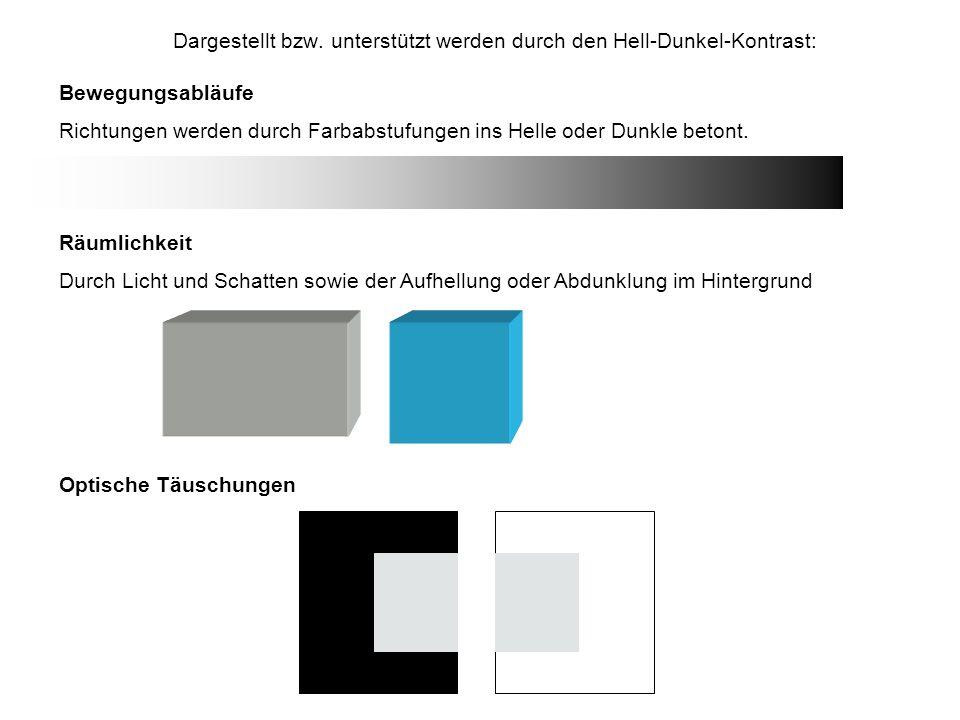 Dargestellt bzw. unterstützt werden durch den Hell-Dunkel-Kontrast: Bewegungsabläufe Richtungen werden durch Farbabstufungen ins Helle oder Dunkle bet